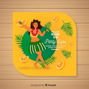 Szablon zaproszenia luau pomarańczy