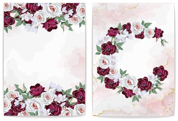 Szablon zaproszenia lub karty z pozdrowieniami z kwiatów ślubnych i różanego marmuru