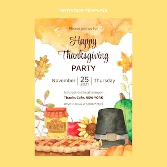 Szablon zaproszenia na akwarele dziękczynienia