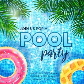 Szablon zaproszenia na imprezę basenową letni baner