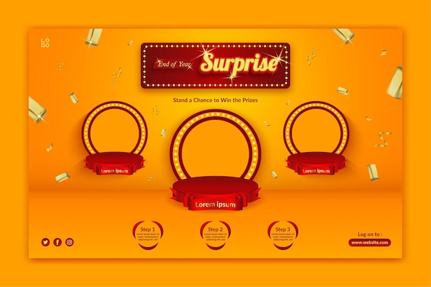 Szablon zaproszenia na konkurs niespodzianka na koniec roku z rozpryskującym się złotem