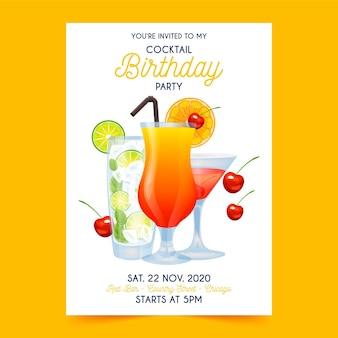 Szablon zaproszenia na przyjęcie urodzinowe koktajl
