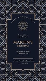 Szablon zaproszenia na przyjęcie urodzinowe w złotym stylu art deco