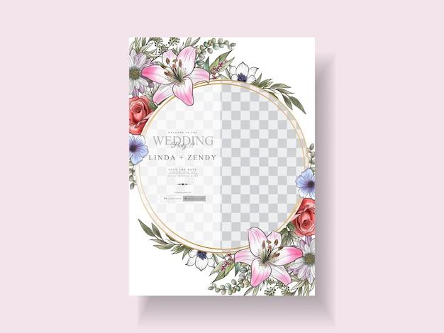 Szablon zaproszenia na romantyczny ślub kwiatowy