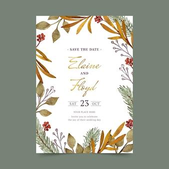Szablon zaproszenia na ślub akwarela zima