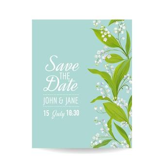 Szablon zaproszenia na ślub kwiatowy z wiosennymi kwiatami konwalii
