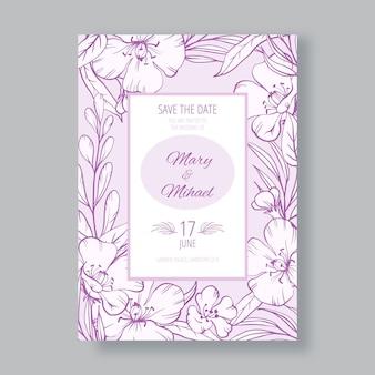 Szablon zaproszenia na ślub kwiatowy