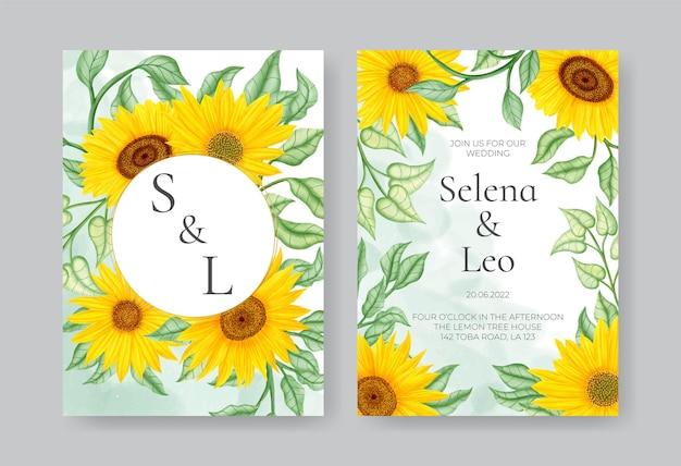 Szablon zaproszenia na ślub z żółtym słonecznikiem