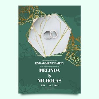 Szablon zaproszenia na zaręczyny ze zdjęciem