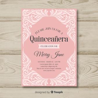Szablon zaproszenia ozdoby quinceanera