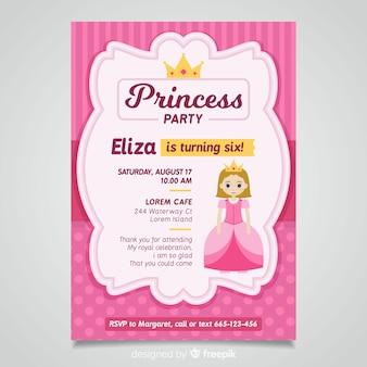 Szablon zaproszenia party księżniczka płaski