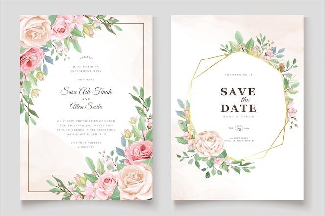 Szablon zaproszenia piękne róże