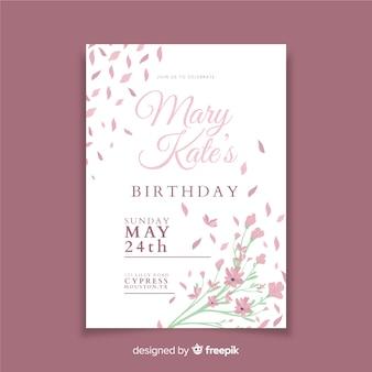 Szablon zaproszenia piękny kwiatowy urodziny
