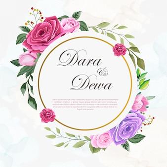 Szablon zaproszenia piękny ślub z kwiatami