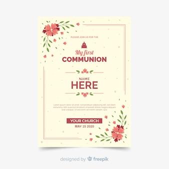 Szablon zaproszenia pierwszej komunii kwiatowy