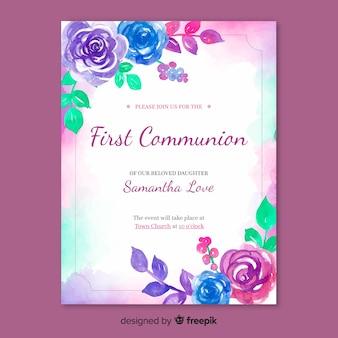 Szablon zaproszenia pierwszej komunii