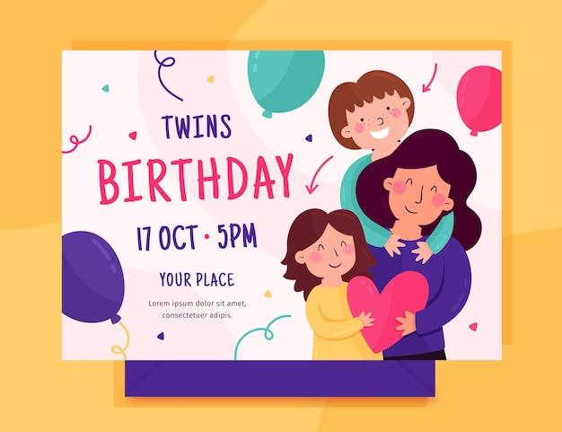 Szablon Zaproszenia Płaski Urodziny Premium Wektorów