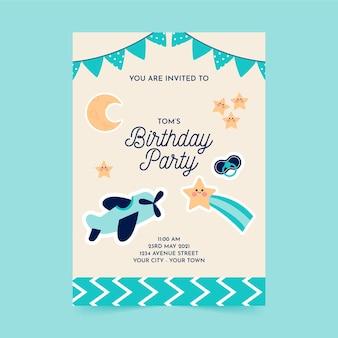 Szablon zaproszenia płaskie urodziny