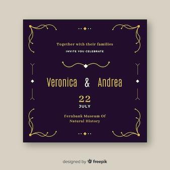 Szablon zaproszenia retro ozdobnych ślub