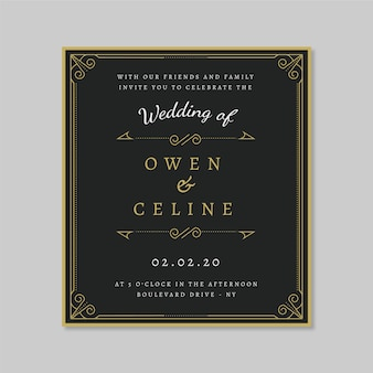 Szablon zaproszenia retro ślub z złote ozdoby
