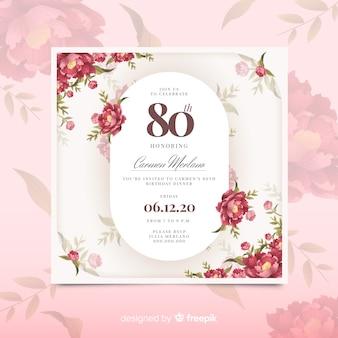 Szablon zaproszenia różowy kwiatowy urodziny