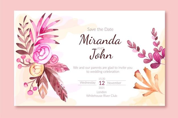 Szablon zaproszenia ślubne akwarela boho