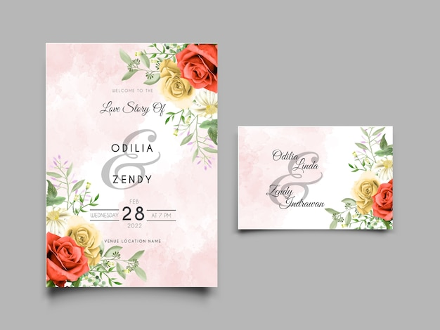 Szablon zaproszenia ślubne akwarela czerwone i żółte róże