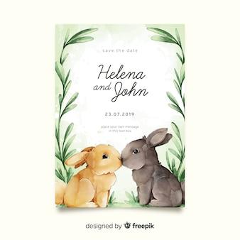 Szablon zaproszenia ślubne akwarela króliczki