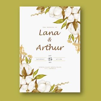 Szablon zaproszenia ślubne akwarela kwiat bawełny