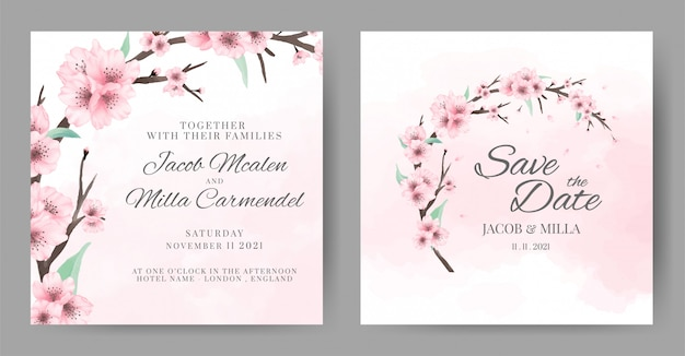 Szablon zaproszenia ślubne akwarela kwiat wiśni. kartkę z życzeniami kwiat wieniec.