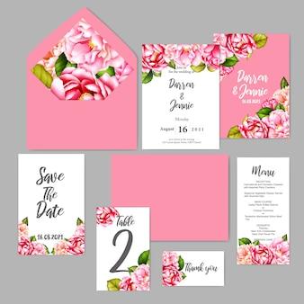 Szablon zaproszenia ślubne akwarela kwiatowy karty