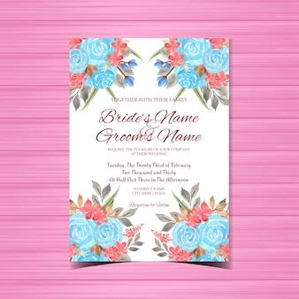 Szablon zaproszenia ślubne akwarela kwiatowy wzór