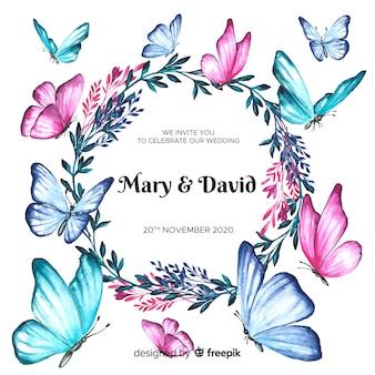 Szablon zaproszenia ślubne akwarela kwiatowy