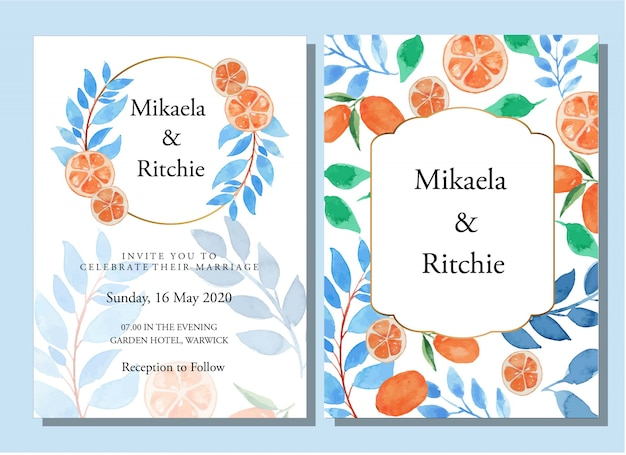 Szablon zaproszenia ślubne akwarela niebieskie liście i pomarańcze kwiatowy