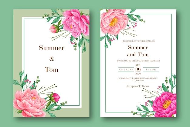Szablon zaproszenia ślubne akwarela różowa piwonia