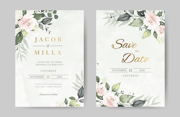 Szablon zaproszenia ślubne akwarela róży. zielone tło urlopu i kwiat ze złotem. kartka z życzeniami.