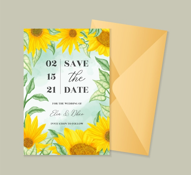 Szablon zaproszenia ślubne akwarela słonecznika lato