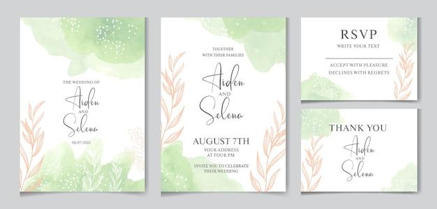 Szablon zaproszenia ślubne akwarela z zielonym pluskiem