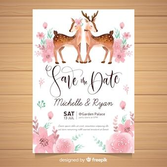 Szablon zaproszenia ślubne akwarela zwierząt