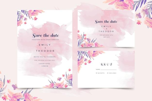 Szablon zaproszenia ślubne akwarela