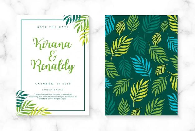 Szablon zaproszenia ślubne botaniczne