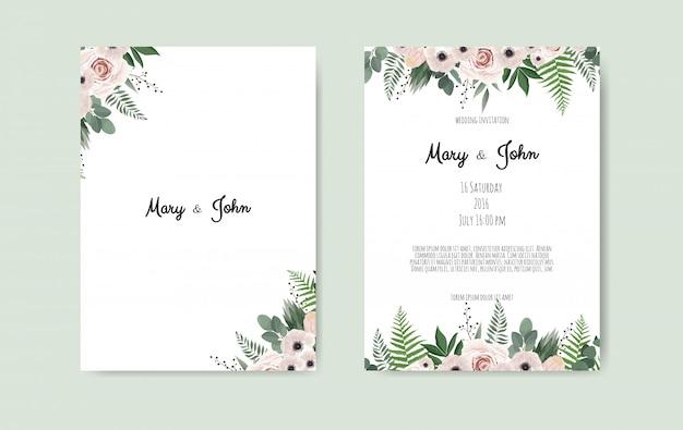 Szablon zaproszenia ślubne botaniczny szablon