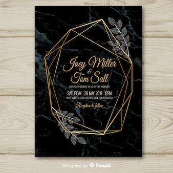 Szablon zaproszenia ślubne ciemny złoty geometryczne