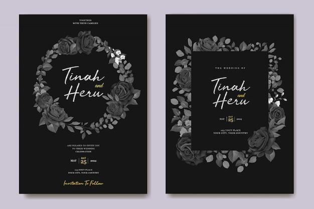 Szablon zaproszenia ślubne czarny kwiatowy