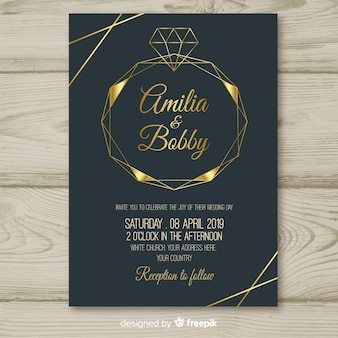 Szablon zaproszenia ślubne diament geometryczny