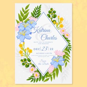 Szablon zaproszenia ślubne ekologiczne płaskie kwiatowy