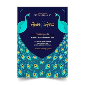 Szablon zaproszenia ślubne eleganckie pawie