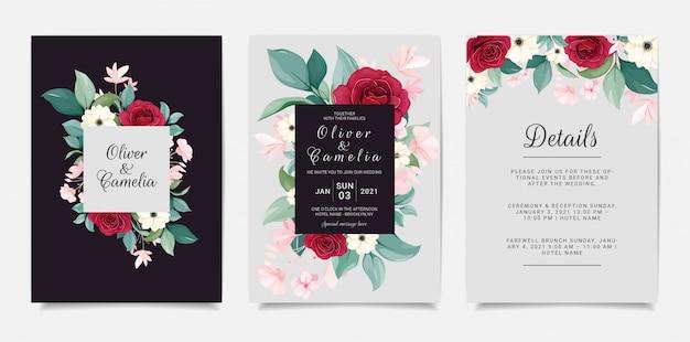 Szablon zaproszenia ślubne granatowy z ramą kwiatowy. czerwone róże, zawilec i liście botanicznej ilustracji