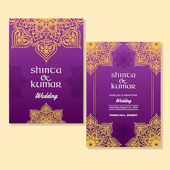 Szablon zaproszenia ślubne indyjskie
