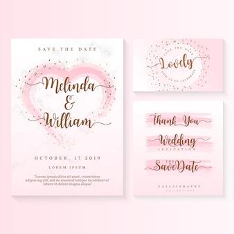 Szablon zaproszenia ślubne karty wektor
